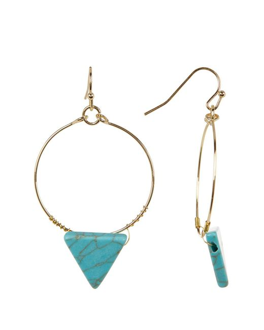 Cara | Multicolor Turquoise Triangle Hoop Dangle Earrings | Lyst