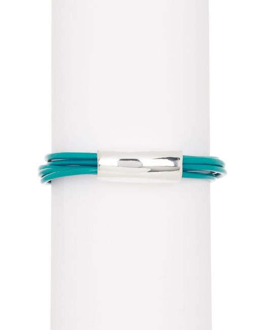 Simon Sebbag - Metallic Teal Leather Bracelet With Center Silver Accent - Lyst