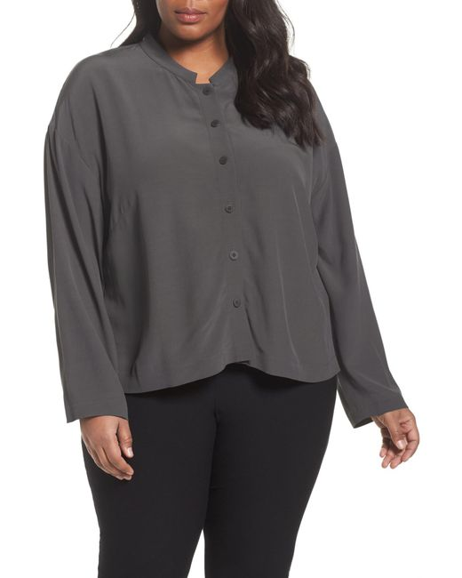 Eileen Fisher - Gray Mandarin Collar Boxy Top - Lyst