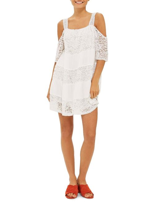 TOPSHOP   White Lace Off The Shoulder Babydoll Dress   Lyst