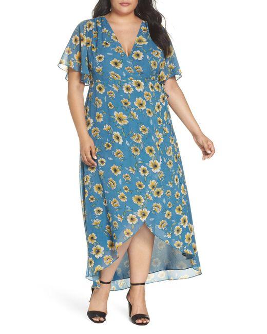 Glamorous - Blue Floral High/low Wrap Dress (plus Size) - Lyst