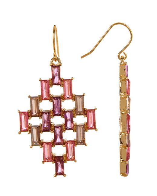 Carolee   White Baguette Kite Drop Earrings   Lyst