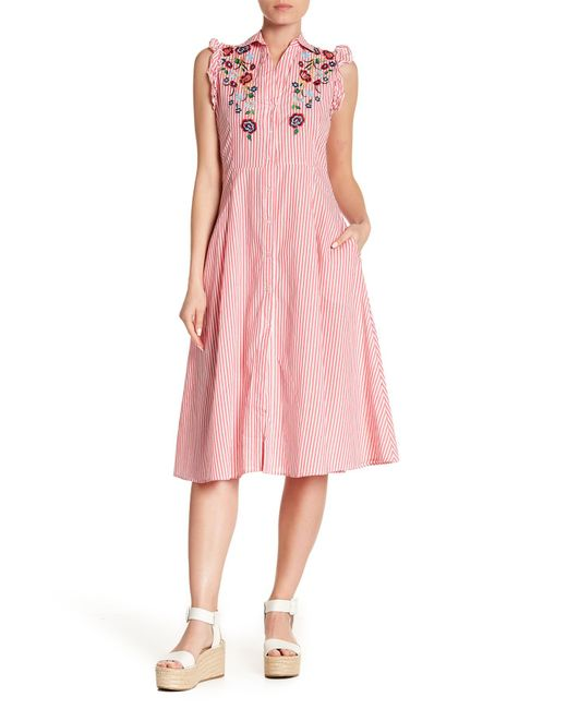 Haute Rogue - Pink Embroidered Striped Shirt Dress - Lyst