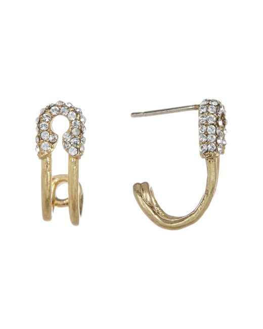 Marc Jacobs   Metallic Strass Safety Pin Hoop Earrings   Lyst
