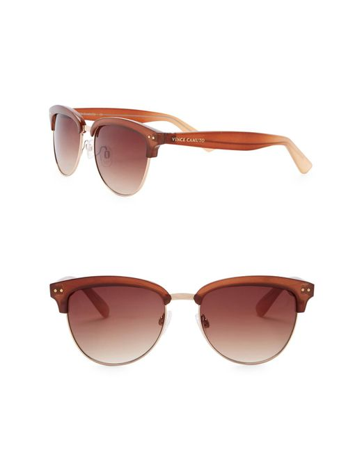 Vince Camuto - Brown Clubmaster 55mm Metal Frame Sunglasses - Lyst