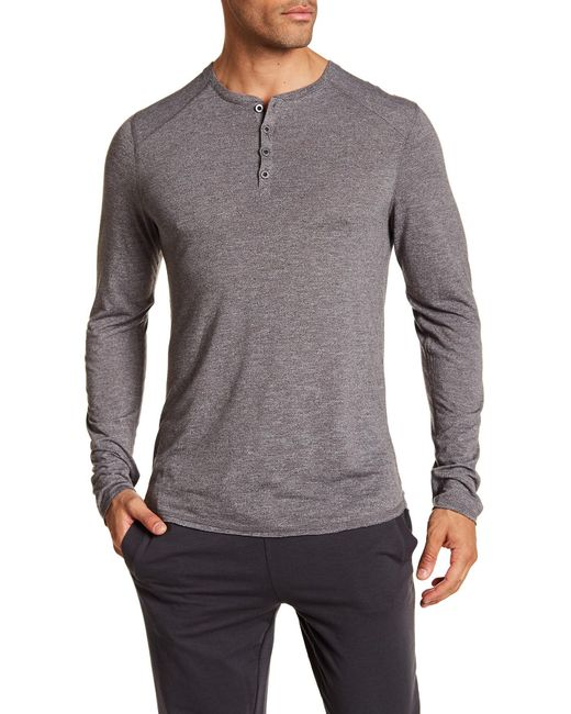 Bread & Boxers - Gray Long Sleeve Henley Shirt for Men - Lyst