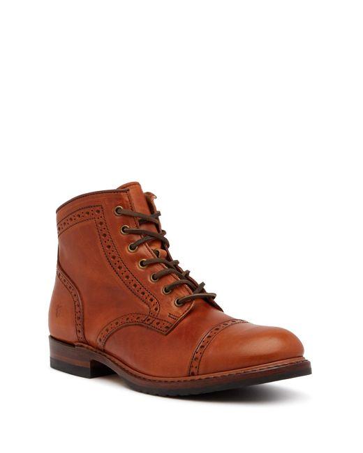 Frye | Brown Logan Brogue Cap Toe Boot for Men | Lyst