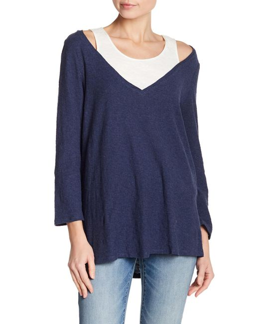Two By Vince Camuto - Blue 3/4 Sleeve Layered V-neck Tee - Lyst