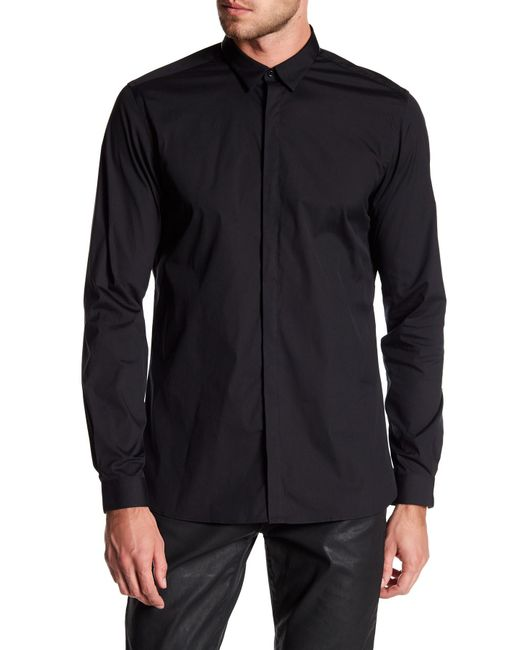 The Kooples   Black Faux Leather Pipe Classic Fit Shirt for Men   Lyst