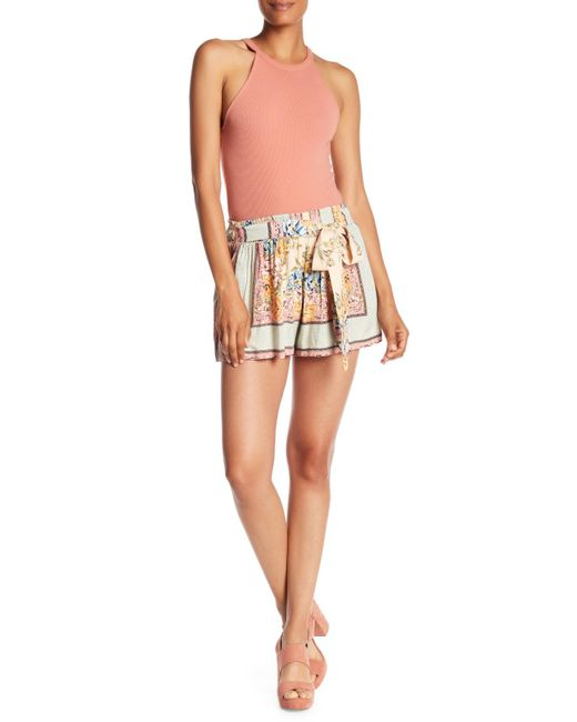 Angie - Multicolor Smocked Waist Tie Printed Shorts - Lyst