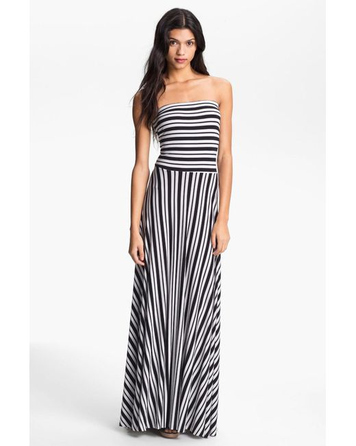 Felicity And Coco Black Stripe Strapless Maxi Dress Nordstrom Exclusive Lyst