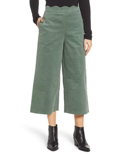 fc6d51008a1 Green Corduroy Scallop Waist Wide Leg Pants (regular   Plus Size) ...