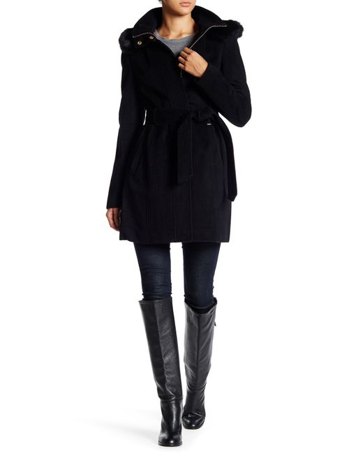 Ellen Tracy | Black Faux Fur Hood Wool Blend Coat | Lyst