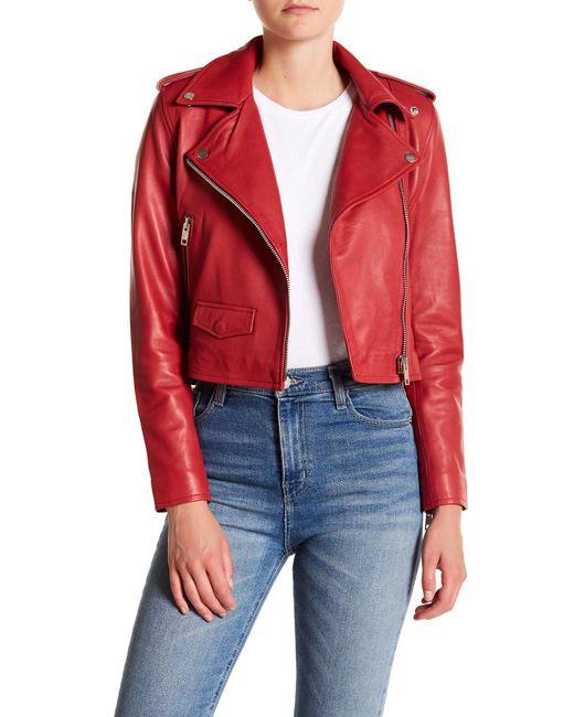 Walter Baker - Red Liz Lamb Leather Jacket - Lyst
