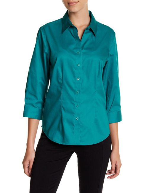Foxcroft | Blue 3/4 Length Sleeve Perfect Shirt (petite) | Lyst