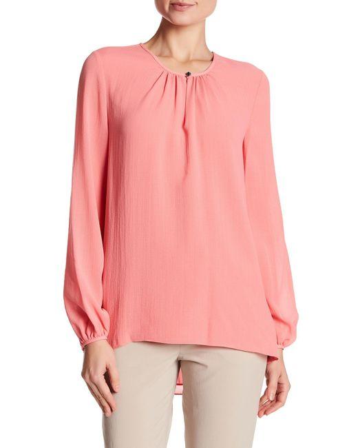 Ellen Tracy | Pink Shirred Neck Blouse | Lyst