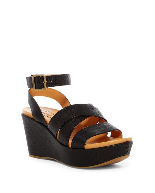 Kork-Ease - Black Amber Wedge Sandal - Lyst