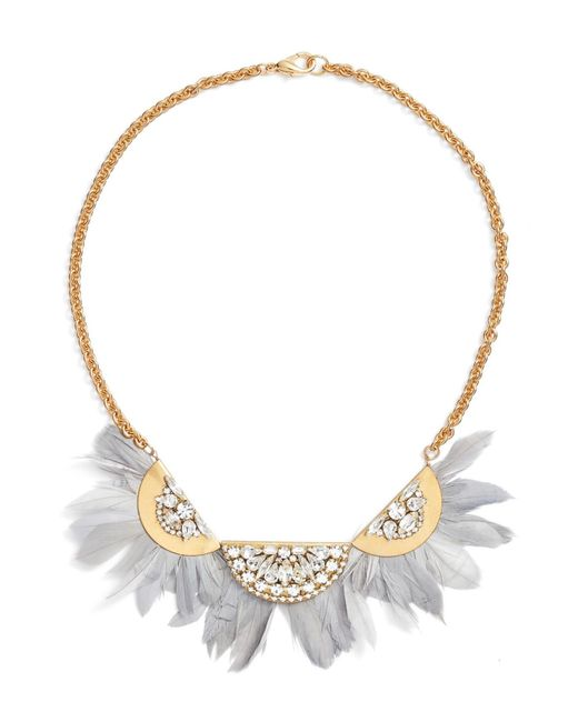 Sandy Hyun - Metallic Feather Bib Necklace - Lyst