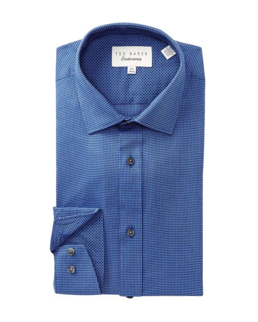 Ted Baker - Blue Micro Geo Pattern Trim Fit Dress Shirt for Men - Lyst