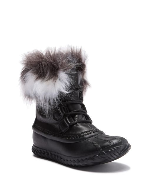 Sorel - Black Leather Boots With Faux Fur Design - Lyst