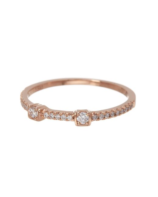 Bony Levy - Metallic 18k Rose Gold Two Station Diamond Stackable Ring - 0.15 Ctw - Lyst
