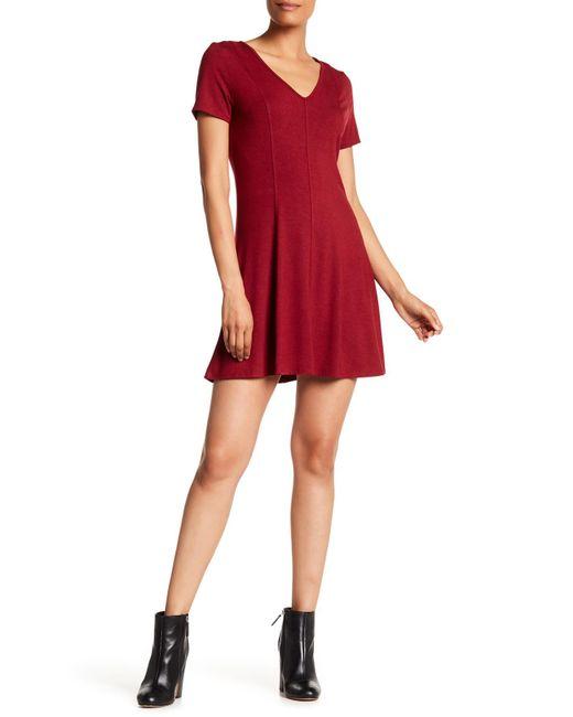 Heather by Bordeaux - Red Heavy Jersey Skater Dress - Lyst
