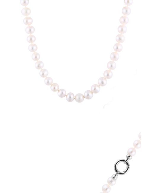 Splendid - Sterling Silver White Pearl & Cz Detail Necklace - Lyst