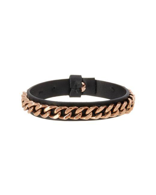 Steve Madden - Black Curb Chain Leather Bracelet - Lyst