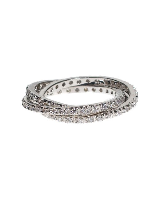 CZ by Kenneth Jay Lane - Metallic Cz Accented Interlocking Ring - Lyst