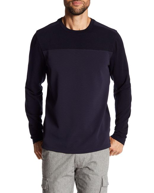 Quinn | Blue Mixed Media Long Sleeve Crew Neck Sweater for Men | Lyst