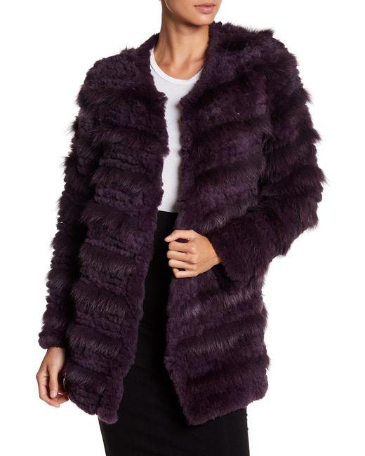 Bagatelle | Purple Tiered Genuine Rabbit & Fox Fur Coat | Lyst