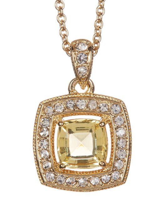 Nadri | Metallic 18k Yellow Gold Plated Cushion-cut Halo Pendant Necklace | Lyst