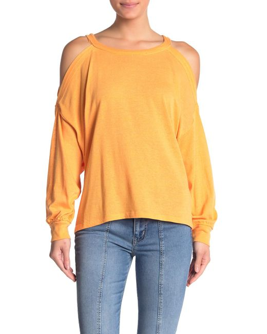 Free People Orange Chill Out Cold Shoulder Sweatshirt