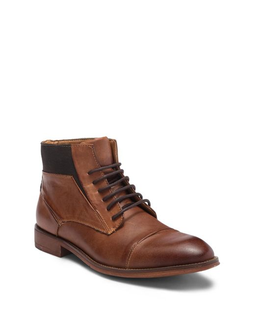 Steve Madden - Brown Radon Cap Toe Leather Boot for Men - Lyst
