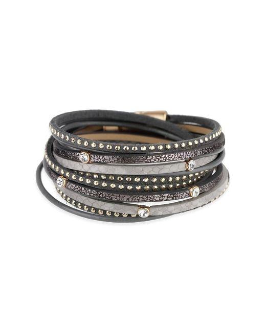 Saachi - Gray Grey Sabrina Leather Wrap Bracelet - Lyst