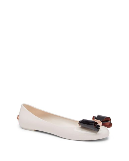 7853769e8796 Ted Baker - Natural Julivia Bow Flat - Lyst ...