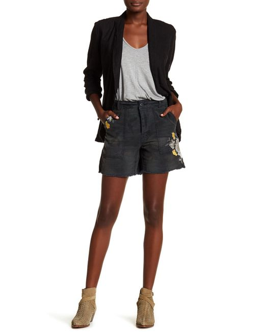 Free People | Black Embroidered Floral Camo Print Shorts | Lyst
