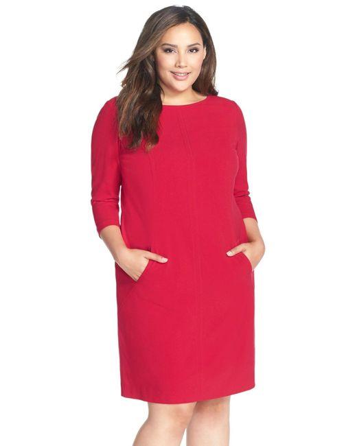 Tahari   Red Seamed A-line Dress   Lyst