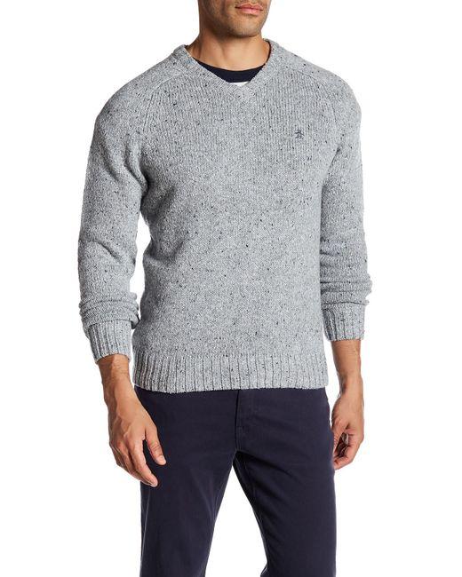 Original Penguin | Gray Saddle Raglan Sweater for Men | Lyst