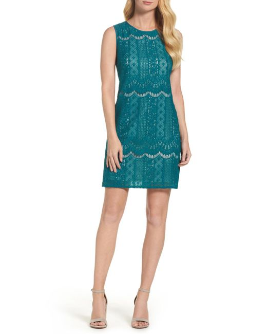 Adrianna Papell | Blue Lace A-line Dress | Lyst