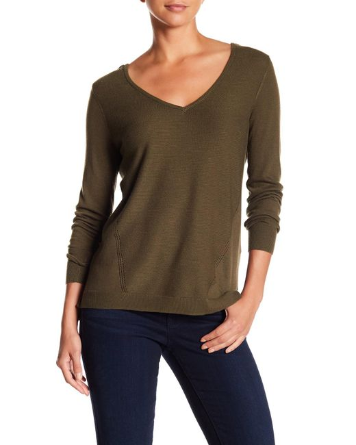 NYDJ - Multicolor V-neck Long Sleeve Knit Sweater - Lyst