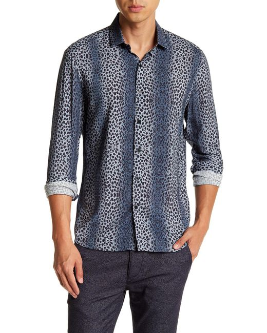 Topman | Blue Long Sleeve Petrol Ombre Leopard Print Regular Fit Shirt for Men | Lyst