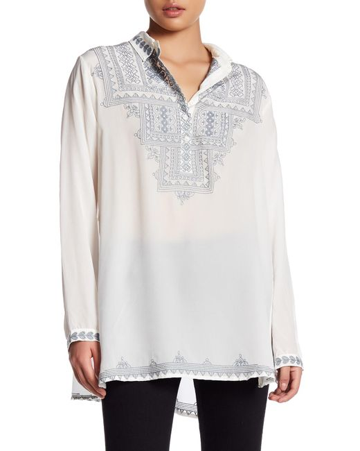 Johnny Was Embroidered Silk Blouse In White Lyst