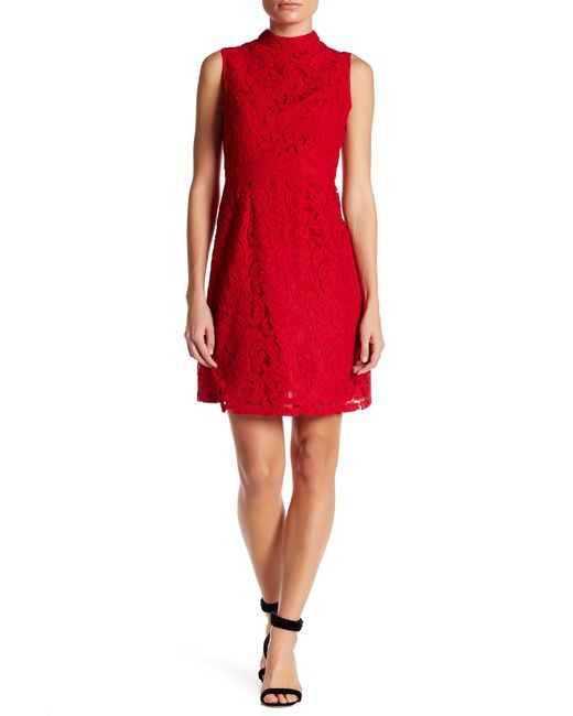 Adrianna Papell Mock Neck Scroll Lace Fit Amp Flare Dress