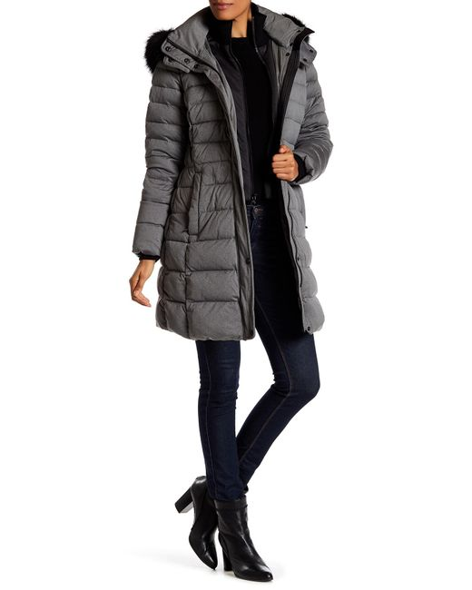 Andrew Marc | Gray Carly Genuine Fox Fur Quilted Long Jacket | Lyst