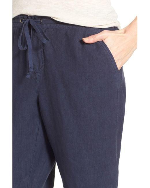 Caslon Linen Tie Front Crop Pants Petite In Blue Navy