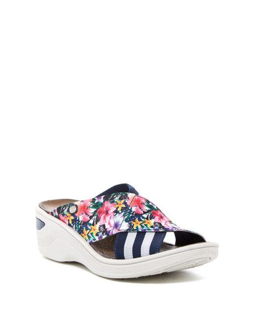 Bzees Desire Stripe Amp Floral Wedge Sandal In Blue Lyst