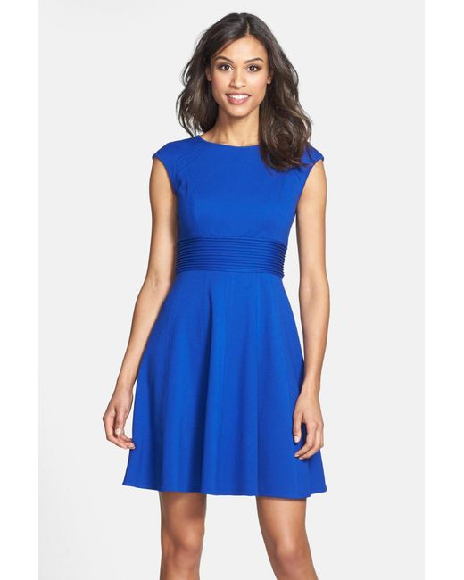 Eliza J | Blue Pintucked Waist Seamed Ponte Knit Fit & Flare Dress | Lyst
