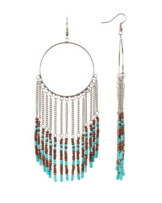 Cara | Multicolor Seed Bead Fringe Hoop Earrings | Lyst