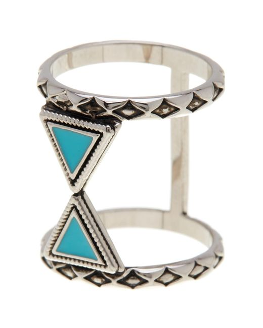Ariella Collection   Metallic Double Triangle Ring   Lyst